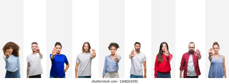 Collage of different ethnics young people over white stripes isolated background doing stop sing with palm of the hand. Warning expression with negative and serious gesture on the face.