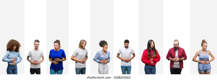 Collage of different ethnics young people over white stripes isolated background with hand on stomach because indigestion, painful illness feeling unwell. Ache concept.