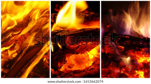 Collage of different fires and flames