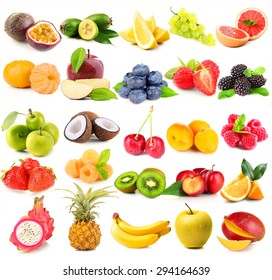 Collage of different fruits and berries isolated on white