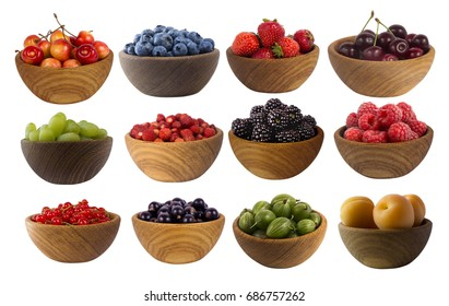 Collage of different fruits and berries isolated on white. Set of strawberries, raspberries, currants, blueberries, blackberries, gooseberries, apricots, blackberries, grapes and cherries.