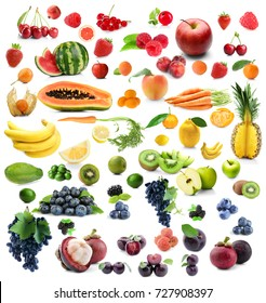 Collage of different fruits and berries on white background