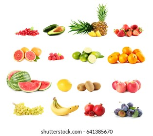 Collage of different fruits on white background