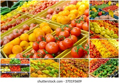 Collage of different grocery markets full of fruit and vegetables