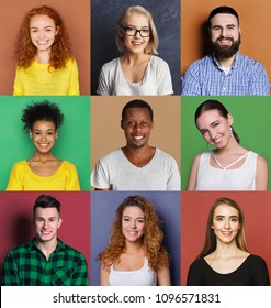 Collage of different happy people. Set of male and female positive portraits. Young people smiling at camera on colorful studio backgrounds
