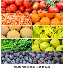 Collage of different healthy organic colorful fruit and vegetables in rainbow order