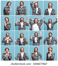 The collage of different human facial expressions, emotions and feelings of young man. Happy business man standing and smiling isolated on blue background. Human emotions, facial expression concept.