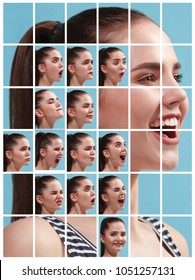 The collage of different human facial expressions, emotions and feelings of young woman. Happy businesswoman standing and smiling isolated on studio background. Human emotions, facial expression