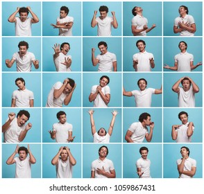 The collage of different human facial expressions, emotions and feelings of young man. Happy business afro man standing and smiling isolated on blue studio background. Human emotions, facial