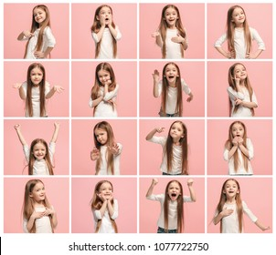 The collage of different human facial expressions, emotions and feelings of young teen girl. Human emotions, facial expression concept.