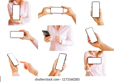 Collage of different isolated photos of person holding mobile phone in hands