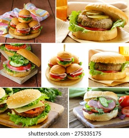 collage of different kinds of burger menu