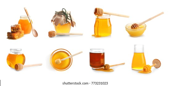 Collage with different kinds of honey on white background