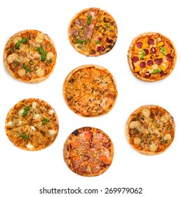 collage of different kinds of pizzas  isolated on white