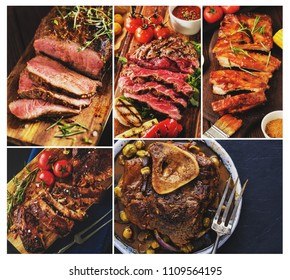 Collage of different meat dishes. Ribs of barbecue, fillet, ossobuko with vegetables.