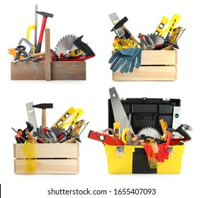 Collage with different modern carpenter's tools on white background