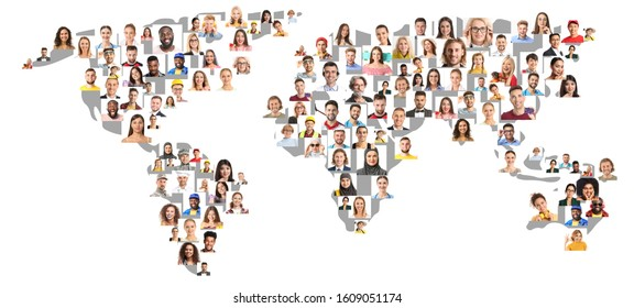 Collage with different people from around world on white background