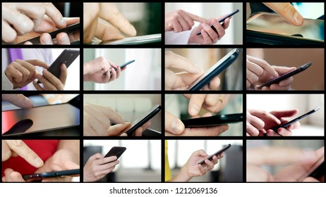 Collage of different people hands texting or typing SMS on smartphones. They using cell phones and smart phones. Technology and communication concept