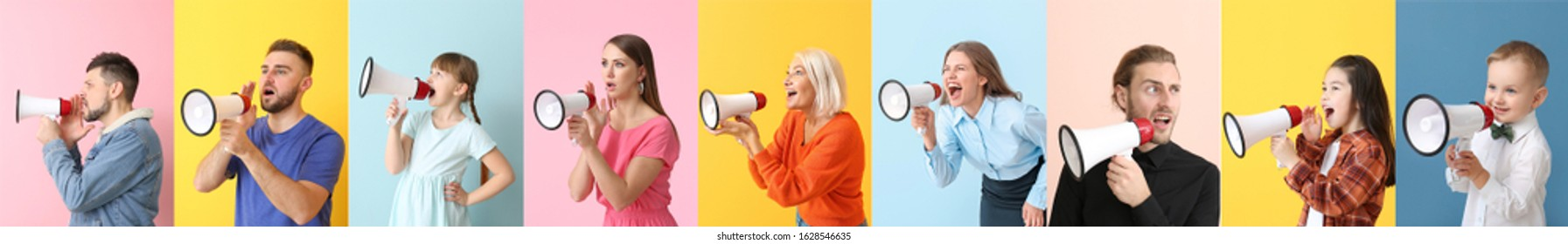 Collage of different people with megaphones on color background