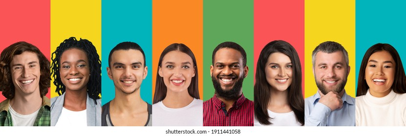 Collage of different people portrairs smiling on bright studio background, panorama with free space. Multiracial male and female faces expressing positivity. Multiethnic society, diversity concept