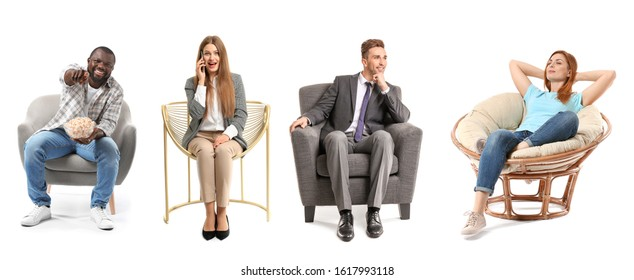 Collage with different people sitting in armchairs on white background