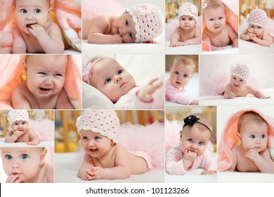 Collage of different photos of baby and his moments