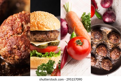 Collage from different photos of meat and vegetables on the table