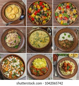 Collage of different pictures of delicious Mediterranean food
