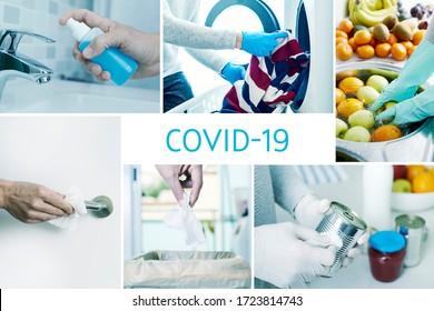 collage de différentes photos de certaines actions à la maison pour prévenir l'infection de la maladie du 19-vid, comme désinfecter les poignées de porte, les boîtes et les pots de nourriture fraîchement achetée, ou les fruits et légumes