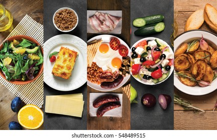 Collage from different pictures of tasty food. Black and wooden background