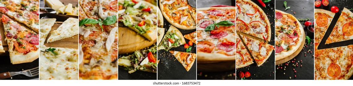 Collage of different pizza variety