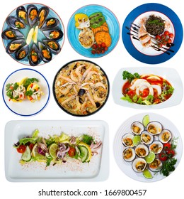 Collage of different plates of seafood on white background