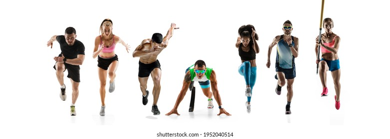 Collage of different professional sportsmen, fit people in action and motion isolated on white background. Flyer. Concept of sport, achievements, competition, championship. Running, pole vault