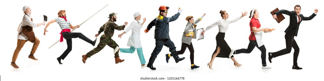 Collage of different professions. Group of men, women in uniform running at studio isolated on white. Buisiness, professional, labor day concept