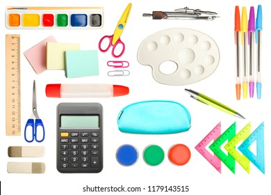 Collage of different school supplies isolated on white. Top view.