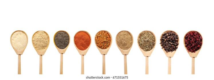 Collage of different seasoning in wooden spoon
