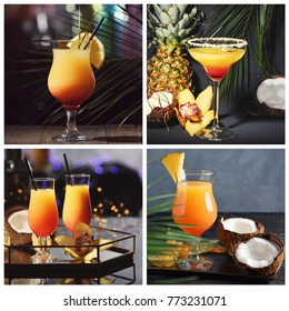 Collage with different serving of popular cocktail Sex on the Beach
