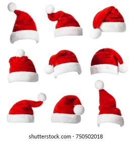 Collage con diferentes formas de Santa Claus sombrero ayudante aislado en fondo blanco. Celebración de Navidad y Año Nuevo