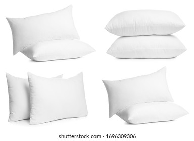 Collage of different soft pillows on white background