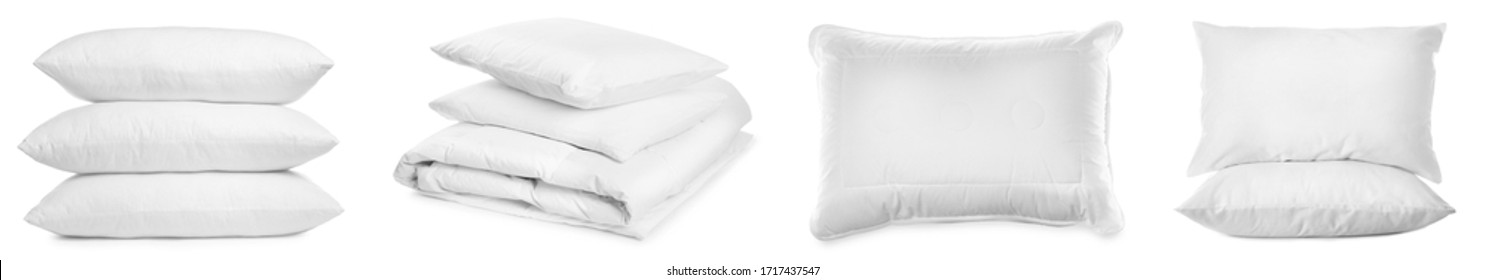 Collage of different soft pillows on white background. Banner design