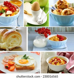 collage of different types of breakfast menu (croissants, scrambled eggs, muesli with milk)