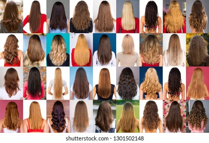 A collage of different types of female hair