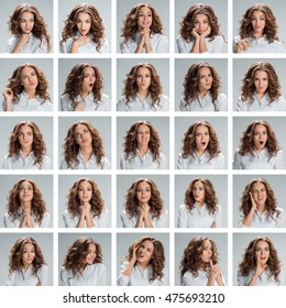 The collage from different woman emotions on gray background