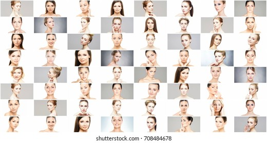 Collage of different women portraits. Spa, face lifting, plastic surgery concept.