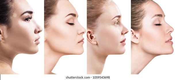 Collage of different women in profile view.