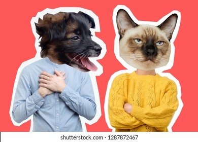 Collage of disappointed young couple with dog and cat head. Being offend on each other.