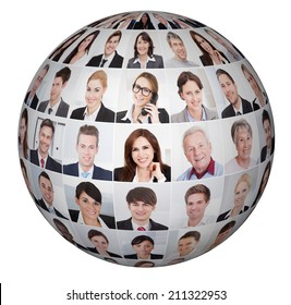 Collage of diverse business people in sphere over white background