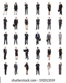 Collage of diverse businesspeople standing over white background
