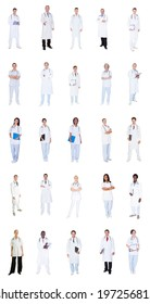 Collage of diverse doctors standing over white background