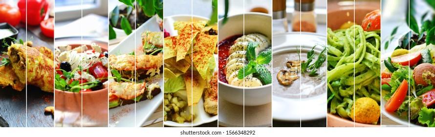 Collage of diverse food. Various tasty and healthy food. Vegetarian menu.